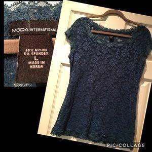 MODA international Sheer lace blouse size L